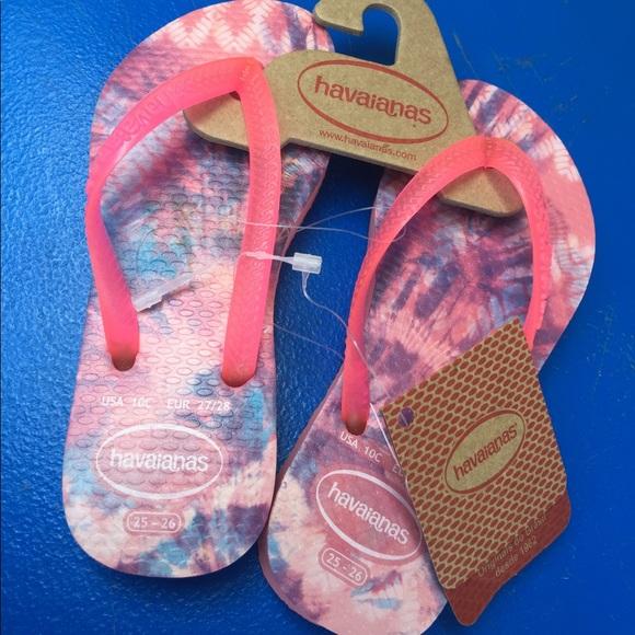 f05f81c3763 Girls Havaianas Pink Tye Dyed Flip Flops 10C NWT NWT